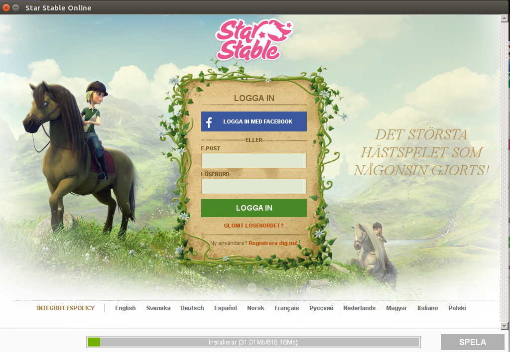 Star Stable install screen