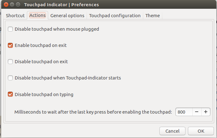 Touchpad indiator UI